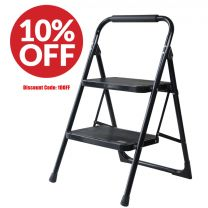 Foldable 2 Step Ladder Non Slip Tread Safety Small Stool Steel Ladders Extra Wide Strong Built Kitchen Bathroom Caravan High Quality Premium Range