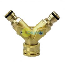 2 Way Solid Brass Double Tap Adaptor With Fixed Hose Connectors Heavy Duty