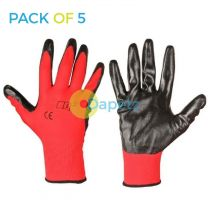 5 X Pu Palm Working Gloves Large For Automotive, Electronic And General Use