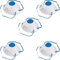 5x FFP2 Face Mask Moulded Dust Protection Mask With Straps N95 Breathable
