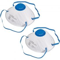 2x FFP2  Moulded Face Dust Mask N95 Respiratory Valve Breathable Sanding Safety