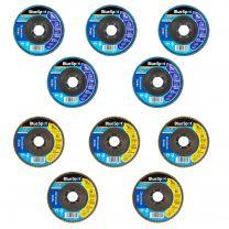 """10 X Flap Sanding Discs 115mm 80 120 Grit Zirconium Oxide 4.5"""" Angle Grinder Mix"""