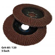 10 X Flap Sanding Discs 115mm 60 120 Grit Aluminium Oxide 4.5